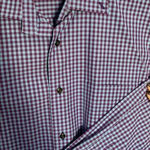 David Donahue Men's Gingham Collared Shirt